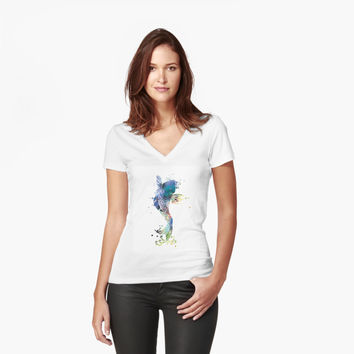 'Koi Fish' Women's Fitted V-Neck T-Shirt by MonnPrint
