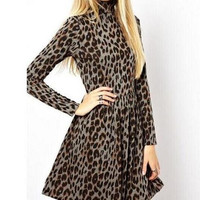 Leopard Print High Neck Long-Sleeve Dress