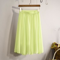 New Fashion 2016 Women's Elegant 23 Color High Waist Chiffon Pleated Midi Skirt Ladies Casual Slim Beach Skater Skirts Saia SK17