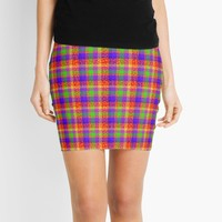 'Rainbow Bubbles Tartan Pattern' Mini Skirt by MarkUK97