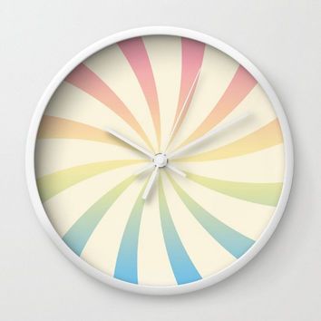 Pastel Wall Clock Sunburt Swirl Rainbow Pink Orange yellow Blue Green Circus Vintage Retro Decor Dorm  Nursery Kids Baby Room Wall Art Gift