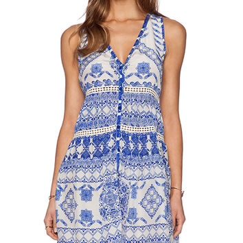 ROCOCO SAND Back to Greece Racer Back Mini Dress in Blue