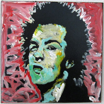 Small Colorful Unique Pop Art Painting on Square Canvas - 12x12 - Sid Vicious of the Sex Pistols - Original Acrylic - Home Wall Art Decor