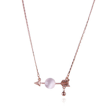 Cupid Arrow with Round Moonstone Crystal Necklace