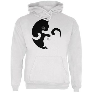 ONETOW Yin Yang Cat White Adult Hoodie