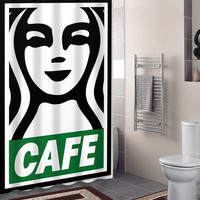 OBEY Poster with Starbucks Logo specials custom shower curtains that will make your bathroom adorable.