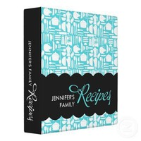 Black and Teal Kitchen Things Recipe Binder from Zazzle.com
