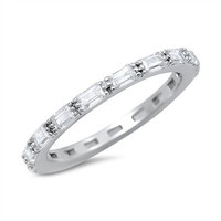 925 Sterling Silver CZ Baguette Eternity Ring 2MM