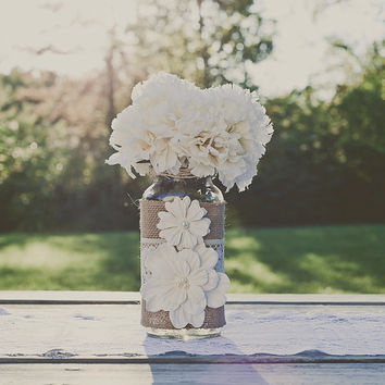 Lace and burlap wedding centerpiece Mason jars. Barn wedding. Bouquet vase.
