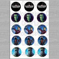 """Guardians of the Galaxy Bottle Cap Images - Birthday Party - Marvel Favor Tags - Printable Instant Download - 1"""" Circles - Bottlecap"""