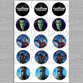 "Guardians of the Galaxy Bottle Cap Images - Birthday Party - Marvel Favor Tags - Printable Instant Download - 1"" Circles - Bottlecap"