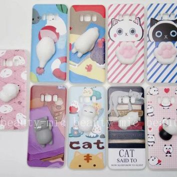 Squishy 3D Silicone Cat TPU Soft Case Cover For iPhone 5/6S/7Plus Samsung S8 S8+