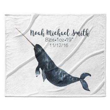 Custom Name Narwhal Whale Nautical Under The Sea Beach Coastal Fleece Blanket