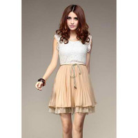 White Lace Pleated Chiffon Mini Dress With Belt