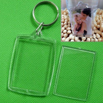 5/10X Clear Acrylic Blank Photo Picture Frame Key Ring Keychain Keyring Gift BD