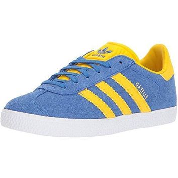 Adidas Originals Gazelle J Blue/equipment Yellow Suede Youth Trainers