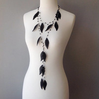 Strand necklace, Black Leaf Lariat Necklace, Crochet bead work, Layered Necklace,