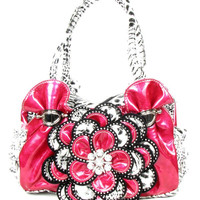 * Pink Leopard Rhinestone Flower Fashion Handbag