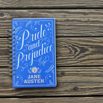Pride and Prejudice - Jane Austen Blank Book, Recycled Notebook, Book Journal, Handmade Journal