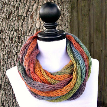 Knit Cowl - ICord Infinity Scarf Rope Cowl Scarf in Starling Rainbow - READY TO SHIP - Knitted Scarf