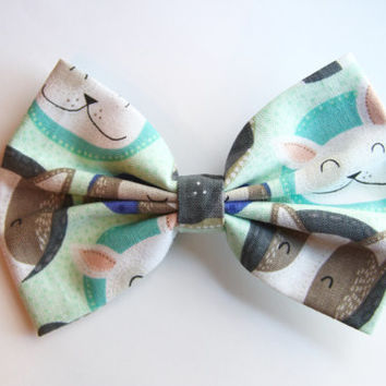 NEW - Puppy Print Hair Bow - Green Puppy Print Hair Bow with Clip