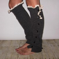 Charcoal Button Legwarmer on Luulla