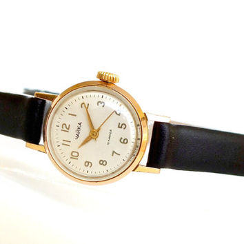 Rare Womens Watch Chaika Seagull 19Jewels. Small Delicate Watch for Women. Russian Vintage Watch Womans. Mechanical Gold Plated Ladies Watch