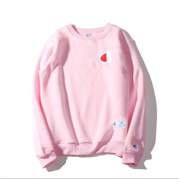 Autumn and Winter Champion embroidery small lovers sweater plus velvet thickening Pink