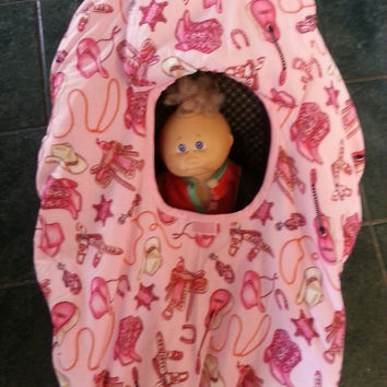 Girl's Pink Cowgirl Baby Carrier Cozy Cover Up for Infant Car Seats