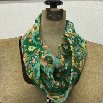 Cowl Scarf Infinity Scarf Floral Print Spring Colors Vintage Mid Century Fashon