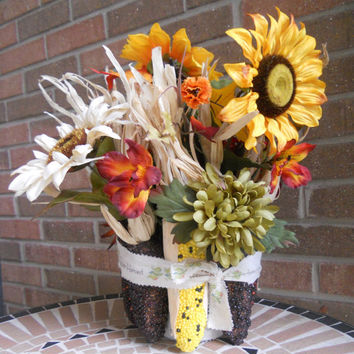 Autumn Indian Corn Table Arrangement, Fall Sunflowers, Autumn Decor, Fall Centerpiece, Shabby Chic, Rustic, Primitive, PebbleCreekDesigns