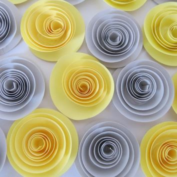 "Yellow and Gray paper flowers 12 piece set, popular home decorating trend, gender neutral baby shower decorations, wedding table decor 1.5"" gray roses"