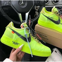 Nike Air Force 1 x OFF WHITE Fashion Women Men Casual Sport Running Shoes Sneakers Fluorescent Green