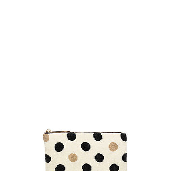 Kate Spade On Purpose One Sided Beaded Clutch Cream/Black ONE