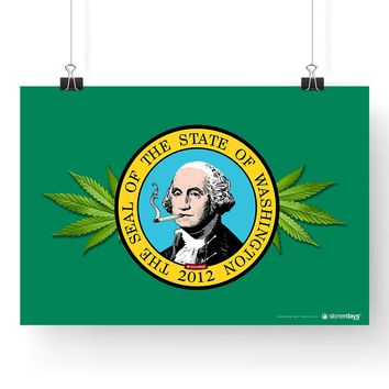 "WASHINGTON STATE CANNABIS WEED LEAF POSTER 13"" x 19"""