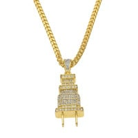 """I AM THE PLUG"" Iced out Gold Chain"