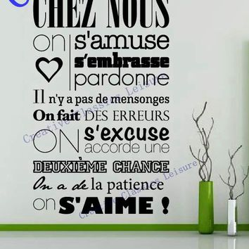"Free shipping ""In this house"" of French version vinyl quote wall stickers home decor vinyl art decals home decoration 56*105CM"