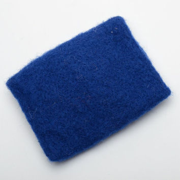 Child's blue wallet felted of wool with flower
