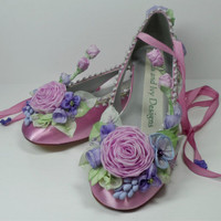 Lilac Roses, Violets, Purple  Bride,  Bridal Shoes, Woodland Garden Shoes, Fairytale Shoes, Fairy Shoes