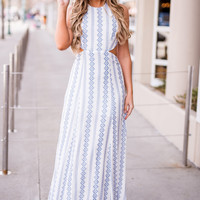 Real Love Printed Self Tie Halter Maxi Dress (Ivory)
