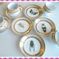 Six Gold Porcelain Bug/Insect  Cups and Saucers, Pick Your Own Bug! Sugar/Creamer and Tea/Coffee Pot Available, OTHER CUSTOM OPTIONS Avail.