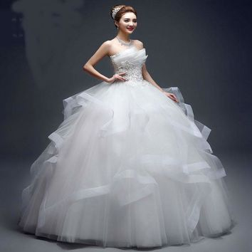 Pearl Bead Strapless Wedding Dresses Tiered bride Princess Gown