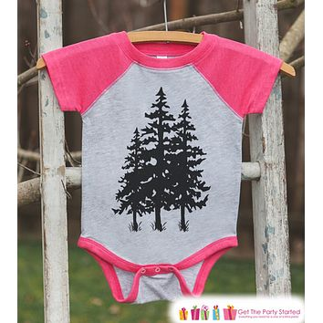 Girl's Tree Outfit - Pink Raglan Shirt or Onepiece - Kids Baseball Tee - Camp Shirt for Baby, Toddler, Youth - Adventure Clothing