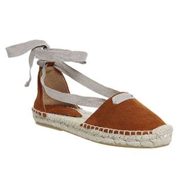 Office Drummer Two Part Lace Up Espadrilles Tan Suede - Sandals