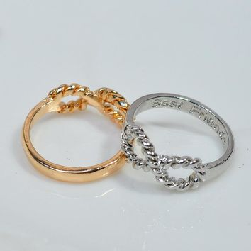 Fashion Gold Silver Best Friends Twist Infinity Finger Ring For Women Eternal Engraved Letter Friend Forever BBF Jewelry Gift