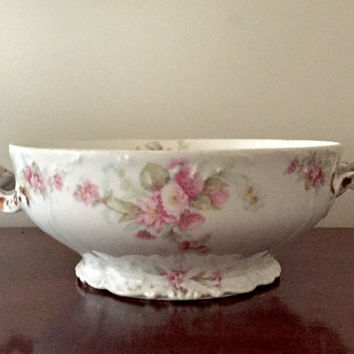 Limoges Footed Bowl with Handles, Bridal Bouquet with Gold Trim, Circa 1920 -32, Bawo and Dotter Elite Works, Vintage Collectible China