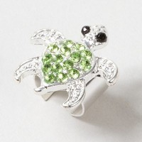 Silver Ear Cuff with Green Crystal Turtle – Claire's