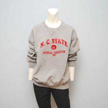 Vintage Sweatshirt 1989 N.C. State Physical Education Sweatshirt Uniform Russell Athletic - Red and Gray - Wolfpack NCSU NC State Sweater XL