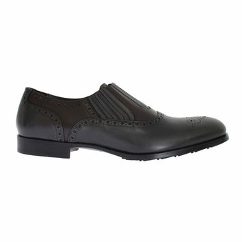 Dolce & Gabbana Gray Brown Leather Dress Loafers