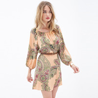 Champagne Lantern Print Long Sleeve Dress with Belt